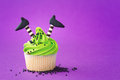 Halloween cupcake with a theme Stock Photo