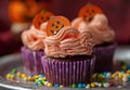 Halloween cupcakes decorated with candies Royalty Free Stock Photo