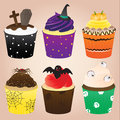 Halloween cupcakes set colorful and various design of Stock Photography