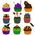 Halloween cupcakes. Vector flat icons. Halloween bakery. Sweet Party food Royalty Free Stock Photo