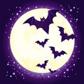 Halloween cute bat flying against full moon Royalty Free Stock Photo