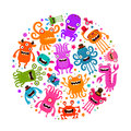 Halloween. Cute monsters or microbes. Cartoon vector illustration Royalty Free Stock Photo
