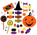 Halloween cute sweet candy collection trick or treat candies vector illustration Royalty Free Stock Images