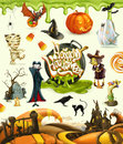 Halloween 3d vector illustrations. Pumpkin, ghost, spider, witch, vampire, zombie, grave, candy corn Royalty Free Stock Photo