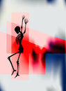 Halloween dance night poster with a dancing skeleton for a party or event Stock Photo