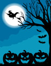 Halloween dark night with witch pumpkin and vampires Royalty Free Stock Photos