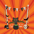 Halloween decoration greeting card with bunting pumpkins and cauldron ornaments Royalty Free Stock Photo