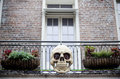 Halloween decoration on the house skull balcony Royalty Free Stock Images