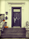 Halloween decoration with scary pumpkins and cobwebs Stock Image