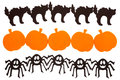 Halloween decorations rows of foam black cats pumpkins and spiders isolated on white Stock Photography