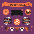 Halloween design elements set a of in orange white and black against purple background Stock Images