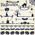 Halloween design elements vector set happy collection of for and page decoration illustration Stock Photography
