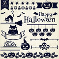 Halloween design elements vector set happy collection of for and page decoration illustration Royalty Free Stock Photography