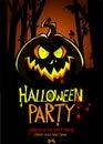 Halloween Design template. Pumpkin head and place for text. Vector banner