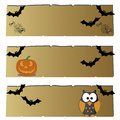 Halloween different icons on abstract papyrus paper Stock Image