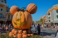 Halloween at disneyland mickey mouse head made with pumpkins during time Stock Photography