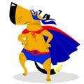 Halloween dog character in superman costume.