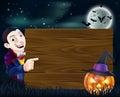 Halloween Dracula wooden sign Royalty Free Stock Photo