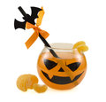 Halloween drink with the decorated straw orange and tangerine isolated Stock Photos