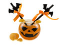 Halloween drink with straws orange decorated and tangerine isolated Stock Image