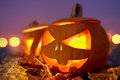 Halloween evening jack o lanterns at dusk on Royalty Free Stock Photos