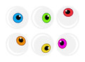 Halloween eyeball vector symbol set. Colorful cartoon clipart pupil, eye illustration  on white background. Royalty Free Stock Photo