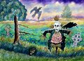 Halloween field with funny scarecrow skeleton hand and crows a typical landscape a at dusk a some a celtic crosses Royalty Free Stock Photos