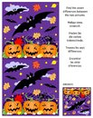Halloween find the differences picture puzzle with flying bats, pumpkin field, spider