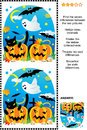 Halloween find the differences visual puzzle themed picture riddle or seven between two scenes with pumpkins bats ghost black Stock Photos