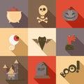 Halloween flat icon set poison skull eye bat zombie hand grave