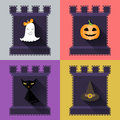 Halloween flat icons set pumpkin ghost hat black cat in castle vector illustration Royalty Free Stock Photography