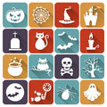 Halloween flat icons vector set of collection of design elements illustration Stock Images