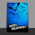 Halloween Flyer or Cover Design with Lots of Flying Bats Over the Night Field in the Darkness Under the Starry Sky and Blue Moon - Royalty Free Stock Photo