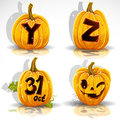 Halloween font cut out pumpkin letter Y,Z,31. oct Stock Images
