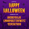 Halloween font. Typography alphabet with colorful spooky and horror illustrations