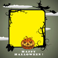Halloween frame abstract yellow with witch flying on a broom bats and a spooky evil pumpkin Royalty Free Stock Photos