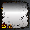 Halloween frame background scary with pumpkins moon and old tree Stock Photos