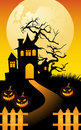 Halloween frame background scary with pumpkins moon and old tree Stock Image