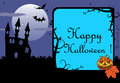 Halloween frame blue with evil pumpkin ancient castle full moon bats and the text happy written inside the Stock Images
