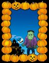 Halloween frame with Frankenstein Royalty Free Stock Photos
