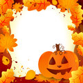 Halloween frame with pumpkin and autumn leaves Stock Image
