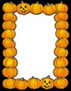 Halloween frame with pumpkins Stock Photo