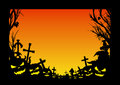 Halloween frame with silhouette of pumpkins jack o lantern trees leaves and crosses in the cemetery postcard or flyer with copy Stock Photo