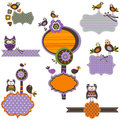 Halloween frames elements set with birds Royalty Free Stock Images