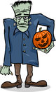 Halloween frankenstein cartoon illustration of spooky zombie with pumpkin or like monster Royalty Free Stock Image