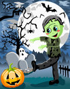 Halloween frankenstein monster illustration featuring a smiling boy wearing costume walking and scaring nighttime eps file is Royalty Free Stock Photo