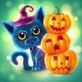Halloween funny characters. Black cat with big eyes and glowing pumpkin. Invitation card for party and sale. Autumn holidays. Vect Royalty Free Stock Photo