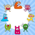 Halloween funny monsters set round frame for eps file available Royalty Free Stock Images