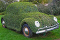Halloween in gardaland italy setting amusement theme park car covered with ivy location on Royalty Free Stock Photography