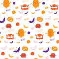 Halloween ghost bat pumpkin seamless pattern backg background Stock Image